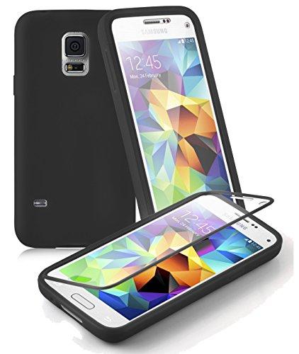 Preisvergleich Produktbild Cadorabo - TPU Silikon Schutzhülle (Full Body Rund-um-Schutz auch für das Display) für > Samsung Galaxy S5 MINI / S5 MINI DUOS < in OXID-SCHWARZ