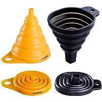 Deiss® ART Conjunto de Embudos de Silicón Plegables – Embudos Plegables Redondos & Cuadrados – Grado de Comida, Libre de BPA, Seguro en Lavavajillas – Conjunto de 2