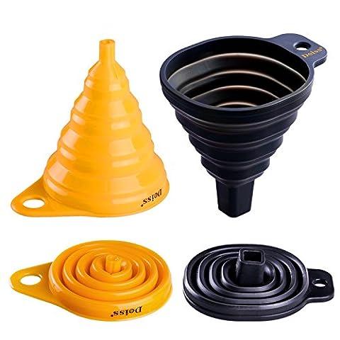 Deiss® ART Ensemble entonnoir pliable silicone - entonnoirs pliables arrondi et carré -qualité alimentaire, sans BPA, lavable au lave-vaisselle - ensemble de 2