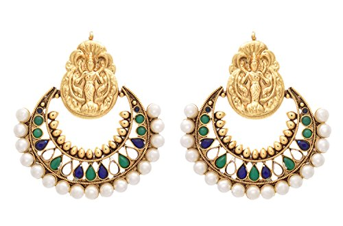 JFL -Traditional Ethnic One Gram Gold Plated Temple Mahalaxmi Ramleela Polki and Pearls Green & Blue Designer Earrings for Women and Girls.  available at amazon for Rs.1149