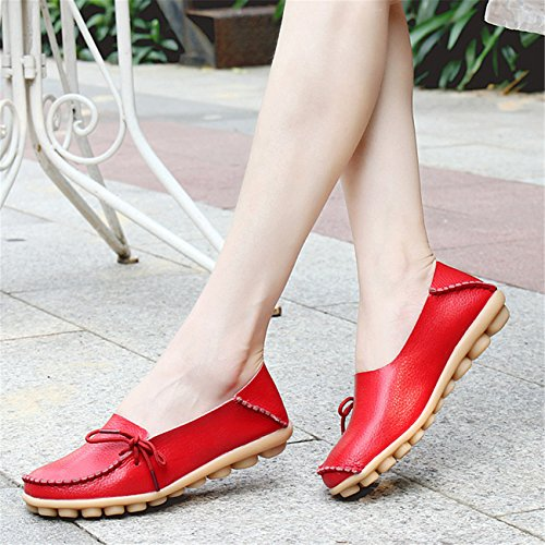 Auspicious beginning Ladies Comfy Work Leather Moccasins Loafers Flats Shoes Rouge