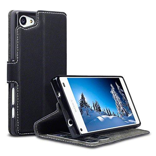 Terrapin, Kompatibel mit Sony Xperia Z5 Compact Hülle, Leder Tasche Case Hülle im Bookstyle mit Standfunktion Kartenfächer - Schwarz EINWEG
