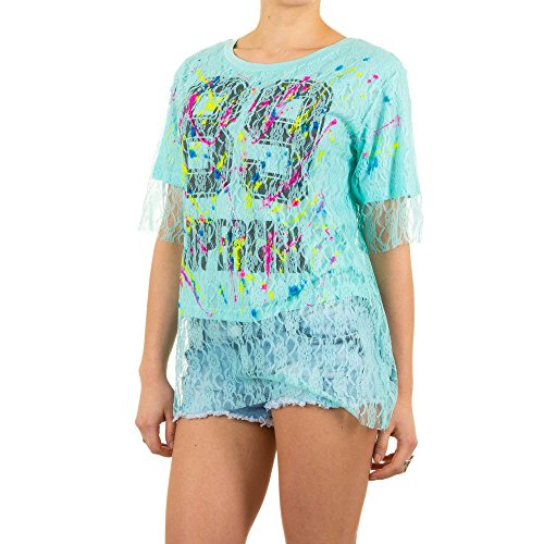 Schuhcity24 Damen T-Shirt Print Bluse Spitzen Türkis S/M (T-shirt Dunklen Tochter Womens)