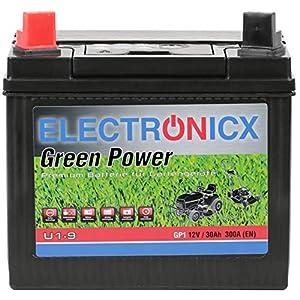 Electronicx U1(9) 30AH 300A (EN) Green Power Batterie für Aufsitzrasenmäher, Gartengeräte, Starterbatterie, Wartungsfrei, Calcium Technologie