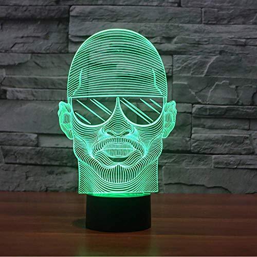 Bunte Visuelle 3D Led Nachtlicht Mit Sonnenbrille Mann Modellierung Schreibtischlampe Für Schlafzimmer Usb Lampe Dekor Nacht Leuchte