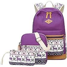 LissomPlume Mochilas escolares juveniles para chicas set de mochila de lona de estudiante mochila niña
