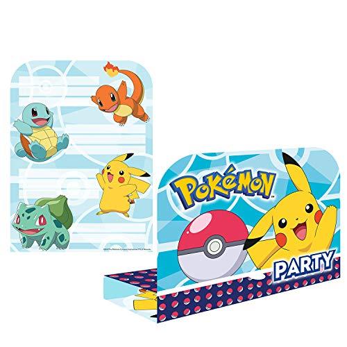 Amscan International Amscan 9904829 Einladungen mit Umschlägen, Motiv Pokemon, 8 Stück,