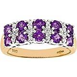 Naava 9ct Yellow Gold Ladies Diamond and Amethyst Ring
