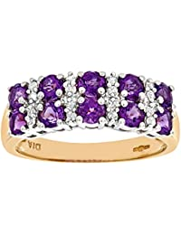 Revoni 9ct Yellow Gold Ladies Diamond and Amethyst Ring