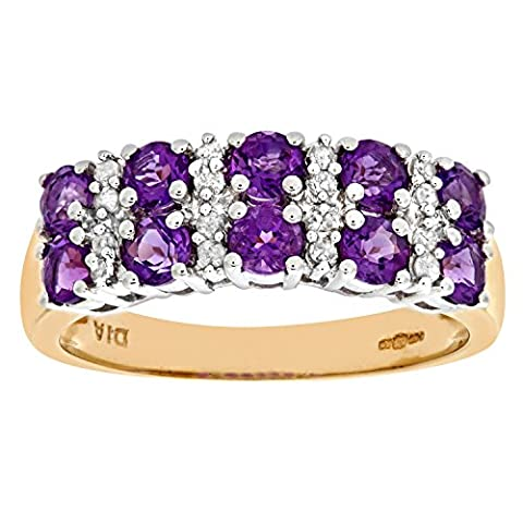 Naava Women's Eternity Ring, 9 ct Yellow Gold Diamond and Amethyst Ring, Claw Set