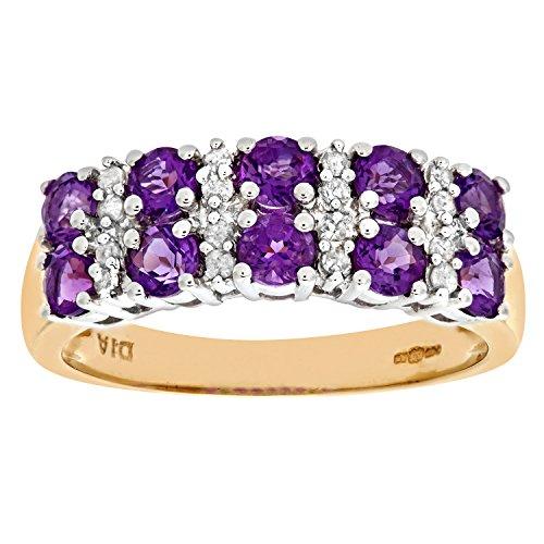 Naava Damen-Ring 9 K Gelbgold Diamant Amethyst