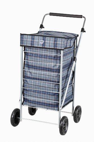 Hoppa Cabas 4 roues avec cordon Noir/gris Bleu roi 58 cm
