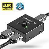HDMI Switch 4K –2 Ports Bi-direction Hdmi Splitter 1 auf 2, Hdmi Verteiler Box Manual Switcher Anschlüsse unterstützt 4K Ultra HD, 1080p, 3D