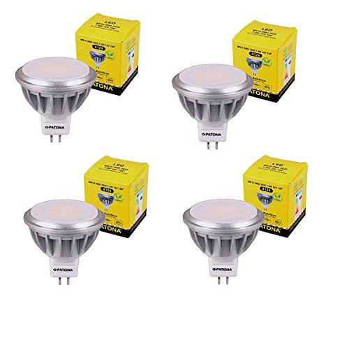 4x PATONA LED MR16 SMD 2835 7,5W 12V 3000K 560lm warmweiß Milchglas 55W
