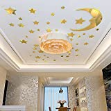 JYSPT 3D Crystal Acrylic Stars Moon DIY Mirror Sticker Decal Art Mural Wall Sticker Home Decoration for Baby Room Bed Room Living Room (XXL)