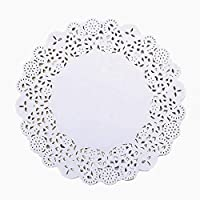xianhuzhenzhen Fashionable 100 Pcs Lace Paper Doilies Cake Placemat Craft Vintage Coasters for Home Decoration(None 8.5 inches)