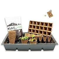 KULTIVERI Set de Cultivo de 14 Piezas: Bandeja de plástico con Semilleros de Germinación Biodegradables y Sustrato. Invernadero Pequeño para Crear tu Huerto.