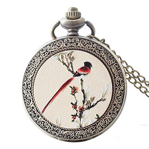 joielavie Taschenuhr Zeichnung Vogel Blume Zweig Zahl arabischen Blumenmuster verziert Halskette Legierung Taschenuhr für klassische Geschenk Herren Damen (Vögel Zeichnung)