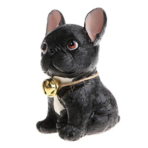 D DOLITY Niedliche Harz Hund Bulldoggen Tiermodell Handwerk Für Haus/Büro Desktop Dekoration - schwarz (Figur-dekoration)