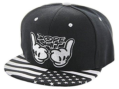 Alsino Snapback Starter Hat Hip Hop Cap Schirmmütze Baseballcap Baseball Mütze Käppi, Variante wählen:Cap-108 Dope Shit schwarz weiß