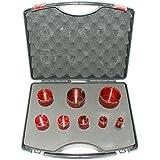 ADT Foret pour carrelage dur Kit M148pièces pour set de trépans Ø 20, 25, 32, 35, 40, 50, 60, 68mm pour grès cérame, granit, Céramique, etc.