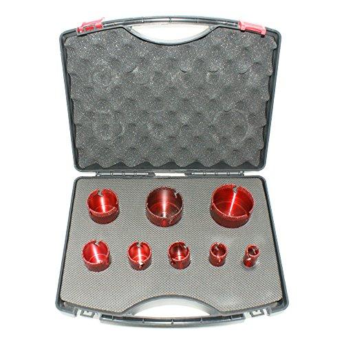 ADT Fliesenbohrer-Set M14 8-teilig Fliesenbohrkronen-Set Ø 20, 25, 32, 35, 40, 50, 60, 68 mm für Feinsteinzeug, Granit, Keramik, usw.