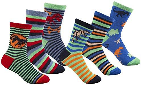 Zest Boys Striped Dinosaur Socks 6 Pack Multi 12.5-3.5