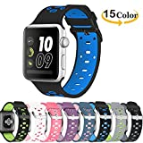 Chok Idea correa de reloj reemplazo para Apple Watch Strap, respirable Nike+ Style correa de repuesto deporte Soft Silicone para Apple Watch Strap 42mm Serie 3 2/1,Black-Blue