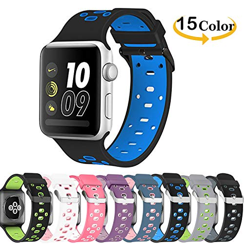 Chok Idea correa de reloj reemplazo para Apple Watch Strap, respirable Nike+ Style correa de repuesto deporte Soft Silicone para Apple Watch Strap 42mm Serie 3 2/1,Black-Blue