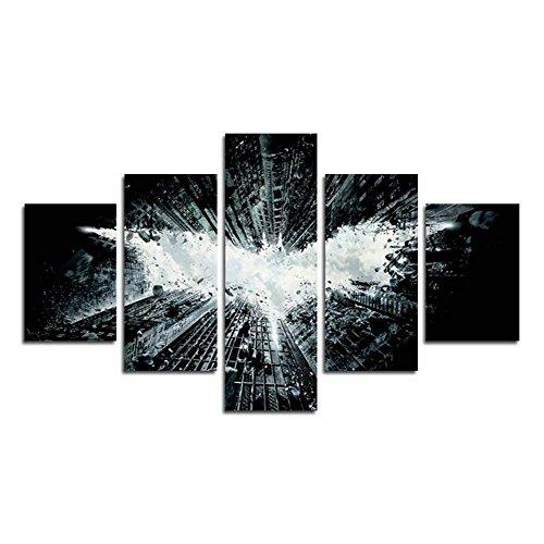 YspgArt66 Print Wall Art, 5Teilig Batman 's Sky Szene auf Leinwand Gemälde für Home Wohnzimmer Büro Trendig eingerichtet Dekoration Geschenk (ungerahmt)...