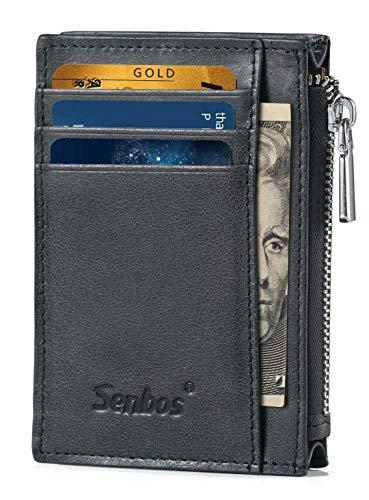 Senbos Geldbörsen für Männer Geldbörsen Herren Leder Slim mit reißverschluss Münzfach Kreditkartensteckplätze & Kartenetuis mit Geschenkbox zum Vatertag -