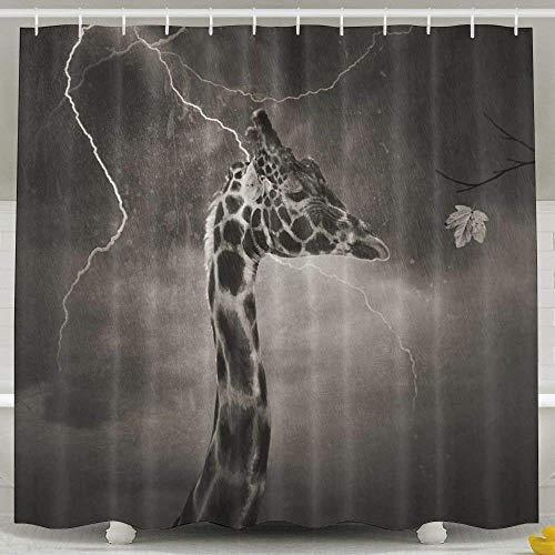 LINGJIE Duschvorhang Baby Shower Curtain Set, Bathroom Accessories, Bathroom Waterproof Fabric Long Portable Adjustable Shower Curtain Set with Rings for Men Women Kids, Giraffe Storm Monochrom