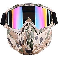 Motocicleta Gafas Máscara desmontable, Harley estilo acolchado de proteger casco gafas de sol, Road Riding UV gafas de moto, Unisex mujer (Camuflaje)