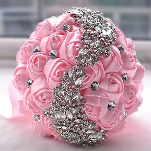 Xiaochou@sl Hochzeits-Dekorations-Versorgungsmaterialien, die Blumen-Brautblumenstrauß-Zusatz-Brautjunferrhinestone-Partei halten halten Dekoration (Farbe : Rosa)