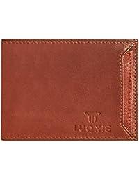 LUQXIS Men Genuine Leather Wallet (Brown, 3 Card Slots)