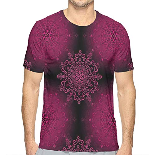 3D Printed T Shirts,Psychedelic Stylized Digital Ethnic with Baroque Rococo Indie Design L -