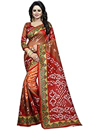 Kanchan Women's Crepe Printed Saree With Blouse Piece - KTBANDHANI 05_Multicolour_Free Size