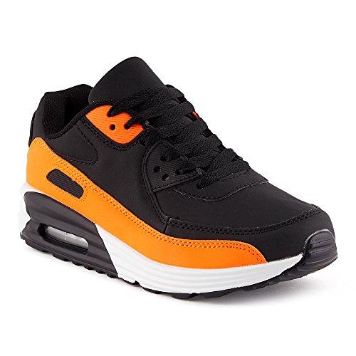 FiveSix Herren Damen Sportschuhe Dämpfung Sneaker Laufschuhe Schwarz/Orange-W EU 40 (Und Schwarz Orange)