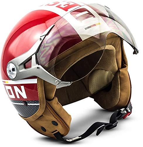 SOXON SP-325-PLUS Red · Pilot Mofa Scooter-Helm Retro Bobber Chopper Helmet Biker Roller-Helm Jet-Helm Vespa-Helm Motorrad-Helm Vintage Cruiser · ECE zertifiziert · inkl. Sonnenvisier · inkl. Stofftragetasche · Rot · S (55-56cm)