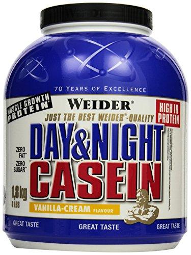 Weider, Day & Night Casein Protein, Vanille-Sahne, 1er Pack (1 x 1,8 kg)