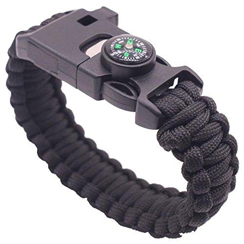 Ekind Survival Paracord-Armbänder, Notfall- oder Outdoor-Paracord-Survival-Armband mit Multifunktionswerkzeug; Feuerstein, Pfeife, Kompass, Notfallmesser und Rettungsseil, 1 Stück, Schwarz
