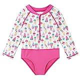 HUAANIUE Neonata Costume Intero Swimwear Manica Lunga UPF 50+ UV Tutina Sportiva Carino Gelato Nuoto Kids Borsa Impermeabile Zipper 4-12Y Costume da bagno12Y Costume da Bagno