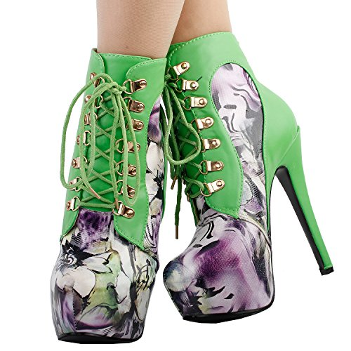 Visualizza storia rosa/blu/nero/viola pizzo alto tacco a spillo gotico Ankle Bootie, LF80831 Verde
