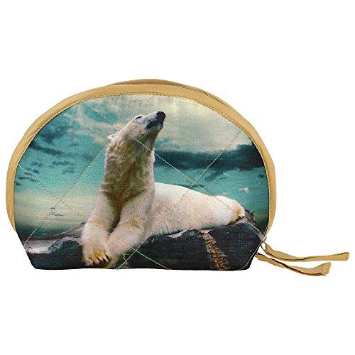 Graphic Polar Bear Digital Wristlet Borsa - Adorabile stampa all-over - trapuntato in poliestere Dupion (Stampa Trapuntato Borsa)
