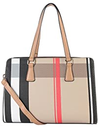 Diophy Plaid Pattern Large Multi-spaced Tote Bag