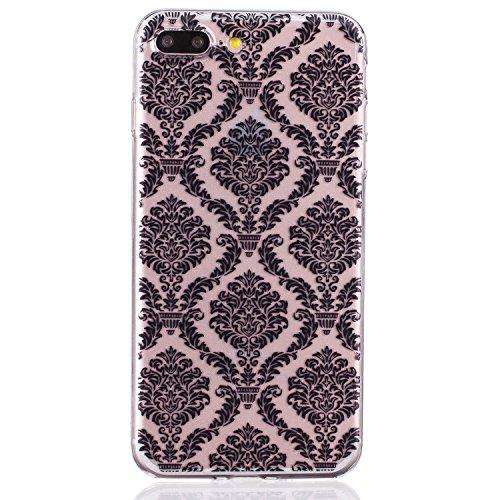 CaseHome iPhone 7 Plus 5.5'' Durchsichtig Silikon TPU Hülle Elegantes Stilvoll Hübsches Muster Druckte Entwurf (Mit freiem HD Schirm-Schutz) Gummi Silikongel Retro Klassiker Stoßstange Weicher Stoßdäm Gittermuster