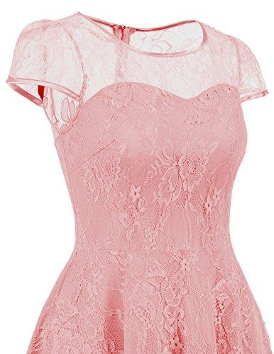 Dresstells Brautjungfernkleid Cap Sleeves Kleid Aus Spitzen Spitzenkleid Knielang Abendkleid Blush