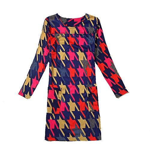 Yue Lian Damen Paisley Muster Minikleid Langärmel Aztekisch Damenkleid Muster #4