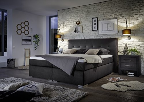Stellwerk Furniture 1651 Premium Boxspringbett 180x200-cm H2-H2 Stoff Schwarz 7-Zonen Taschenfederkern-Matratze Kaltschaum-Topper Polsterbett Doppel-Bett