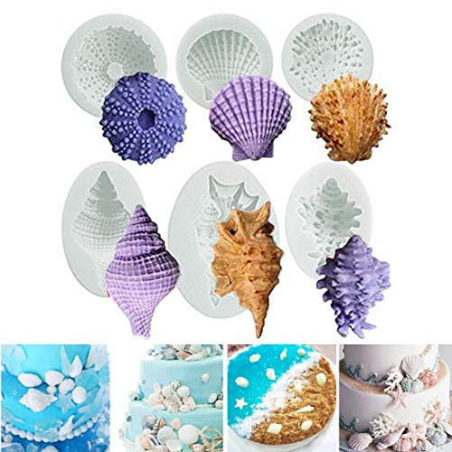 Sea Life Silikonform 3D Seestern Muscheln Conch Marine Strand Cupcake Topper, Fondant Kuchen Dekorieren Werkzeuge Schokolade Süßigkeiten Seife Zucker Formen Küche Backen DIY Stil von 6
